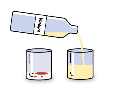 Añadimos vinagre al segundo vaso. éste servirá para empezar la reacción del volcán