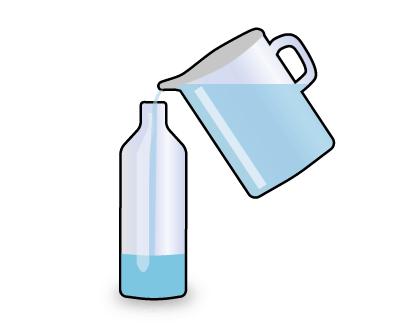 Para construir nuestra lámpara de lava empezamos llenando un cuarto de la botella con agua