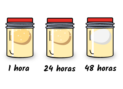 A medida que pasa el tiempo, la cáscara del huevo pierde el Carbonato Cálcico a consecuencia de la rección con el ácido acético del vinagre